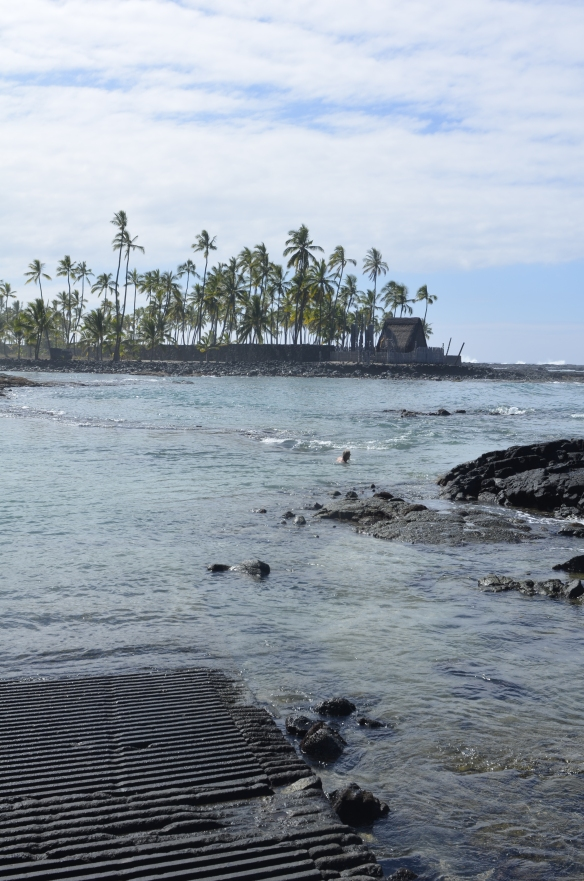 View of Hanaunau from Two-Step. You can see the restored heiau on the point.