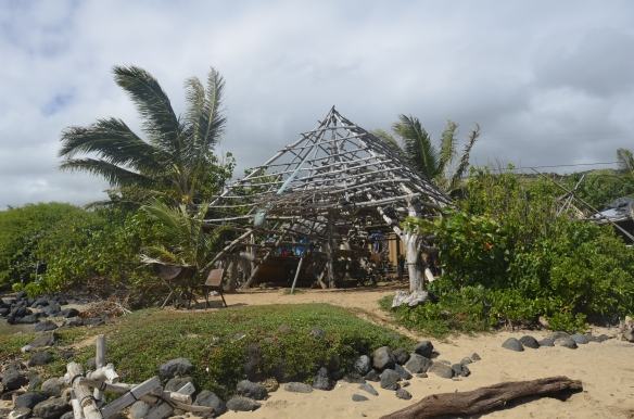 The hale (traditional Hawaiian house) Leimana built at the fishpond. He has plans to thatch it.