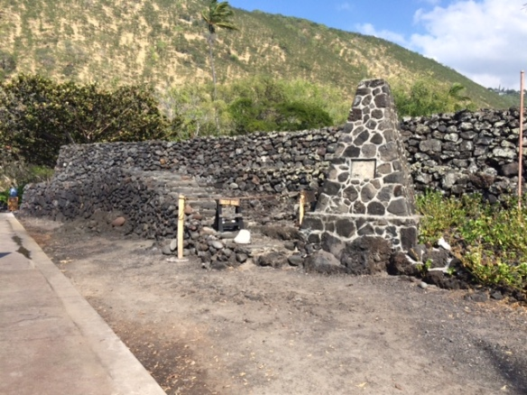 Heiau walls and platform from the front.