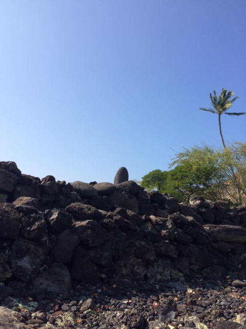 The Ku stone is that rounded stone at the top. This was considered to be a satisfactory image of the god, and was itself kapu, or sacred.