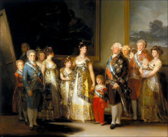 "Goya in full-on court painter mode with ""The Family of Carlos IV."" Very fine, detailed brushwork."