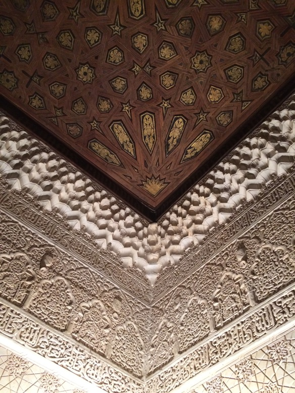 Ceiling detail of Nazaries Palace at night