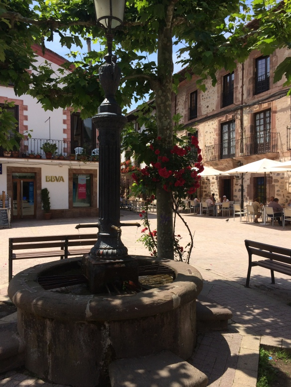 A pretty little fountain in a square in Ezcaray. People sit here to read.