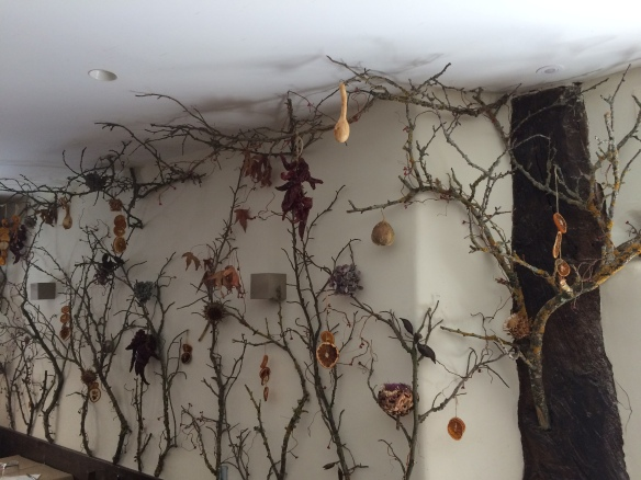 An interesting decoration made of grapevines, dried fruit and flowers in a cafe in Ezcaray