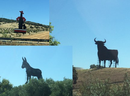 "A montage of the three strange ""billboards"" we kept seeing by the side of the freeway"