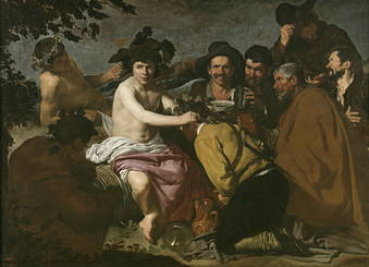 "This is an allegorical painting called ""The Triumph of Bacchus."" Bacchus is highly idealized, but if you look at the other faces, they are very real, with great personality."