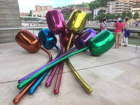 """Tulips"" by Jeff Koons. This looks very light and insubstantial, but it's quite large--and made of steel."