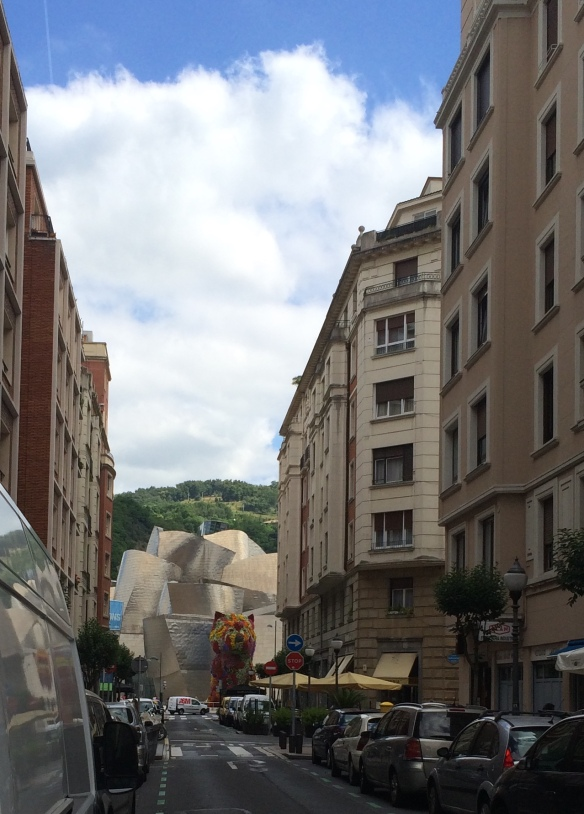 "This view of the Guggenheim from the street shows how huge ""Puppy"" is"
