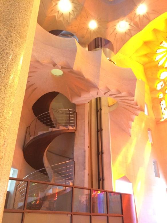 Stairs to the choir loft near the sanctuary, La Sagrada Familia