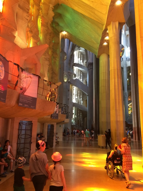 Interior, lit by west windows, La Sagrada Familia