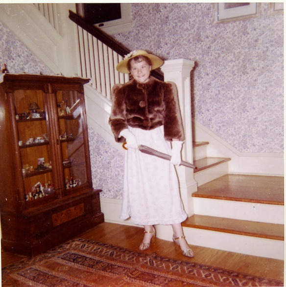 This is me, aged maybe 12, dressed up in old-timey clothes in the front hall of 16 Campbell. I can't remember why.