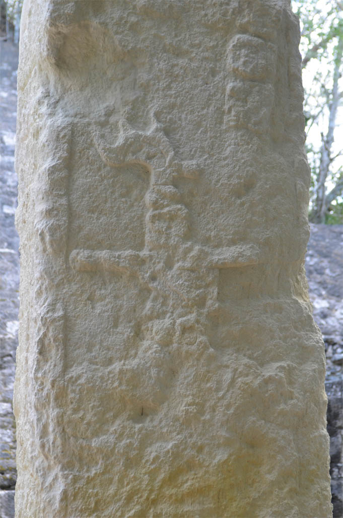 One of the least-eroded stele at Calakmul.