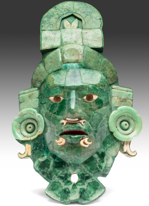 Newest mask found at Calakmul, showing huge steps forward in jade working and artistic skill.