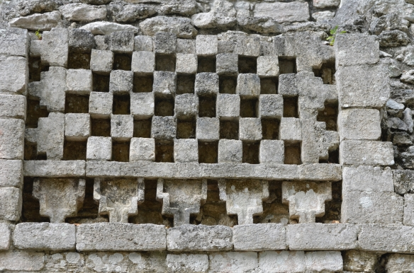 This checkerboard pattern is a bit of detail from a palace at Becan.