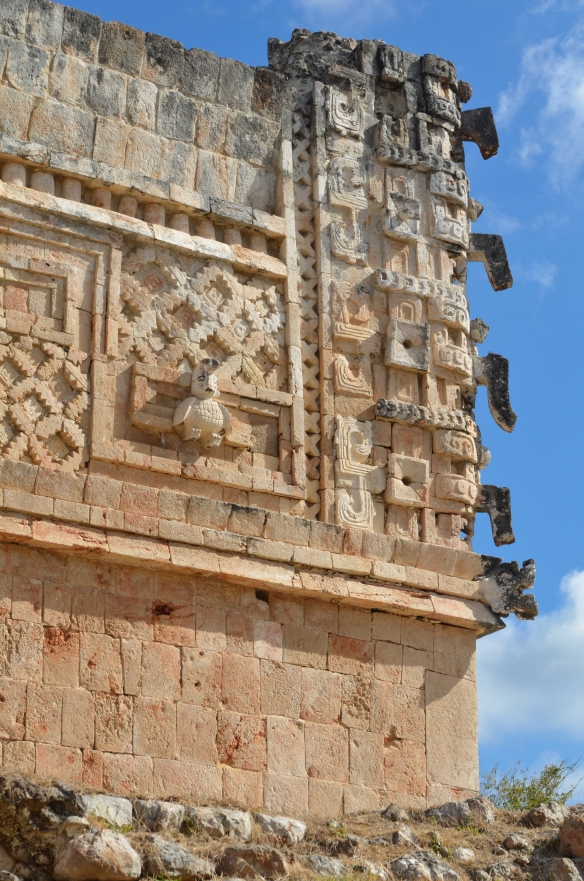 Detail of the Temple of Chaak at Uxmal. Chaak's noses are all pointing down, which is a prayer for rain.