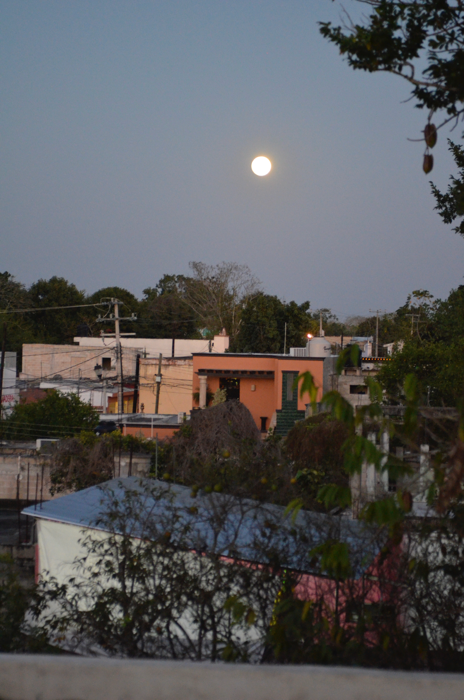 Moon over Valladolid, as seen from our hotel roof.