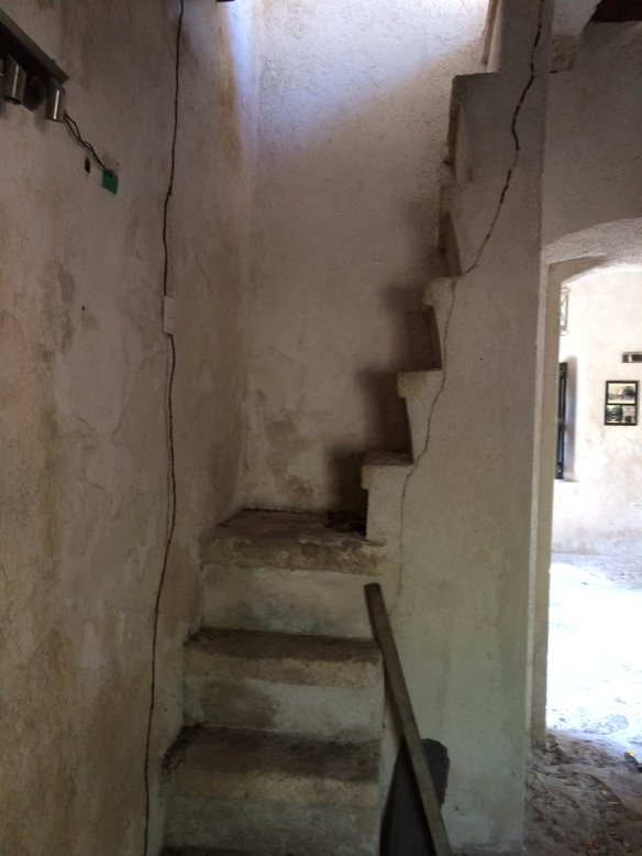 Stairs to the upper story of the Hacienda Mendaca. SO glad they don't make stairs like this today.